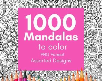 1000 Mandalas | PNG Format | Printable Mandala Adult Coloring Pages | Mandala Easy Coloring Book