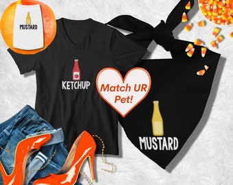 Ketchup / Mustard Matching Dog Costumes   Halloween Dog Costume   Halloween Dog bandana, Dog Best Friend