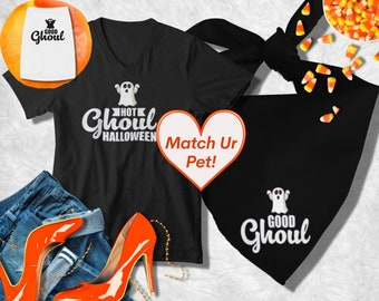 Ghoul Shirt Matching Dog Costumes   Halloween Dog Costume   Halloween Dog bandana, Dog Best Friend