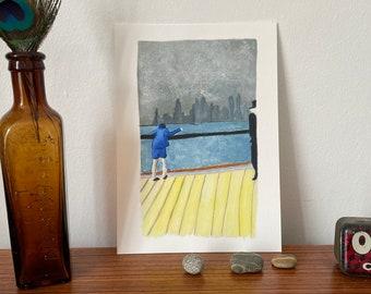 New York Memories, Digital Art Print of mixed media artwork, Yellow Blue and Grey, printed at A5 on Fine art paper