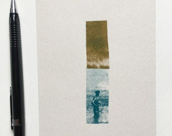 Sky and Sea Mini Riso Print, limited edition Risograph printed artwork in Teal and Gold, A6 on recycled paper