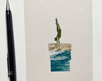 Ocean Joy Mini Riso Print - Risograph printed artwork in Teal and Gold, A6 on recycled paper