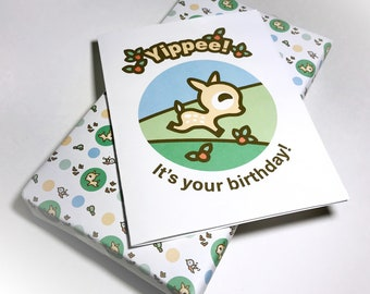 INSTANT DOWNLOAD Birthday Card featuring Dotty the Fawn