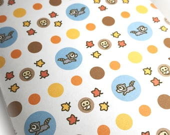 INSTANT DOWNLOAD Printable wrapping paper featuring Rokko the Raccoon