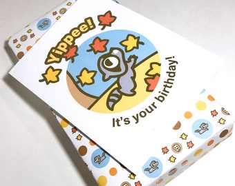 INSTANT DOWNLOAD Birthday Card featuring Rokko the Raccoon