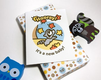 INSTANT DOWNLOAD Baby Shower Card featuring Rokko the Raccoon