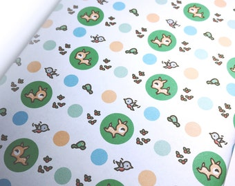 INSTANT DOWNLOAD Printable wrapping paper featuring Dotty the Fawn