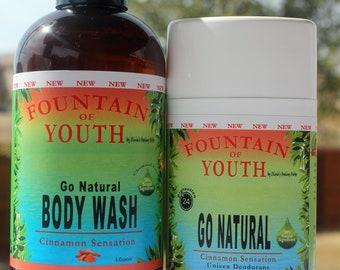 Go Natural Body Wash (8oz) & Deodorant - (Lemon Meringue Pie, Cinnamon Sensation, Cool Mint)