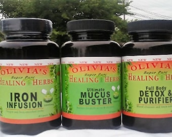 WATER FASTING PACKAGE- Dr Sebi inspired Mucus Buster(60ct), Iron Infusion (60ct) & Full Body Detox (60ct)