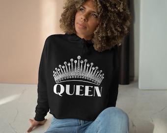 Queen Cropped Hoodie, Queen Crown Long Sleeve, Queen Crop Top, Black Queen Gift For Her
