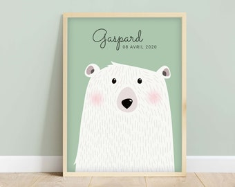 """Poster baby room """"Polo"""" The Polar Bear, Decoration baby room, Birth gift"""