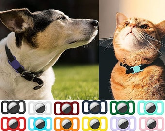 AirTag Protective Cover for Dogs/Cats/Pets Collar or Harness, Protective Silicone Case Dog Cat Pet Collar Apple GPS