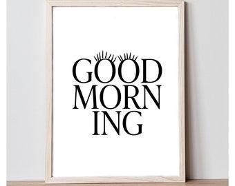 Good Morning Good Night Art Print Set - Printable Wall Decor Quote - Home Decor Print - Printable 8x10 Wall Art