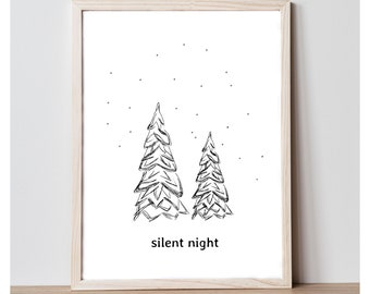 Silent Night Art Print - Printable Wall Decor - Home Decor Print - Holiday Print - Christmas Print - Printable 8x10 Wall Art