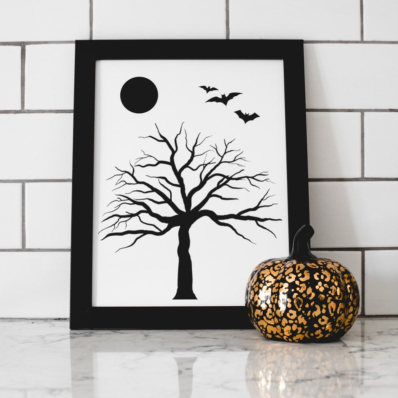 Halloween Tree Art Print  Halloween Wall Art  Halloween image 1