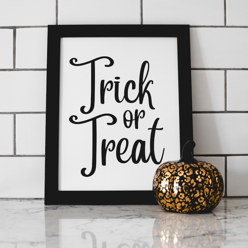 Trick or Treat Art Print  Halloween Art Print  Halloween image 1