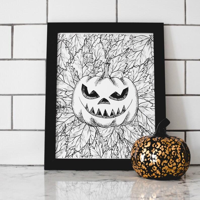 Jack-o-lantern Art Print  Printable Wall Decor  Home Decor image 1