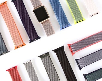 BUY 3 get 1 free Nylon apple watch band, strap, belt for apple watch size 38mm, 40mm, 42mm, 44mm   32 colors