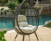 Dermot Outdoor Wicker Freestanding Wicker Teardrop Egg Chair w Cushion