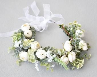 Dog flower collar, Dog wedding flower wreath,  wedding flower crown, puppy flower wreath, dog flower crown