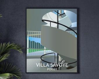 Le Corbusier's Villa Savoye in Poissy - Illustrated architecture art print poster