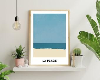 La Plage - minimal beach A3 art print