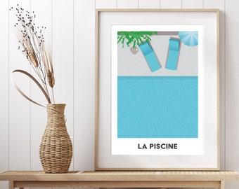 La Piscine - Swimming pool holiday inspired art print - digital download