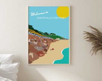 Welcome to Barneville-Carteret, Normandie France. Illustrated art deco travel poster style print.