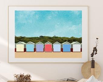Beach huts art print - British summer holiday artwork travel poster - A3 Digital Download
