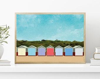 Beach huts A3 art print - British summer holiday artwork travel poster