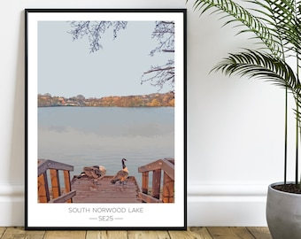 South Norwood Lake and Grounds - SE25 - Geese by the boating lake - South East London local art print - A3 digital illustration