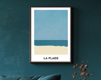 La Plage - minimal beach art print - digital download