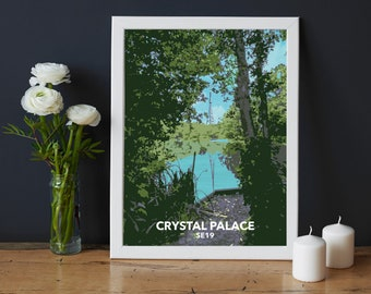 Crystal Palace Park - Transmitter view from the fishing lake - SE19 - South London local art print