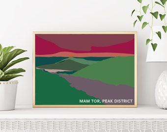 Mam Tor Peak District sunset - A3 illustrated travel poster print