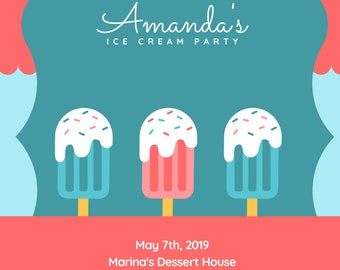 Ice Cream Party Invitation - Editable - Download - Printable - Instant download - Wedding, Baby Shower, Birthday and Paper Goods