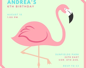 Flamingo  Invitation - Editable - Download - Printable - Instant download - Wedding, Baby Shower, Birthday and Paper Goods