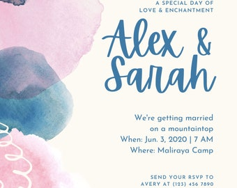 Invitation - Editable - Download - Printable - Instant download - Wedding, Baby Shower, Birthday and Paper Goods