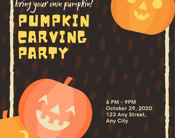 Pumpkin Carving Party Invitations - Editable Download Prints - Halloween Spooky Pumpkin Fall Autumn