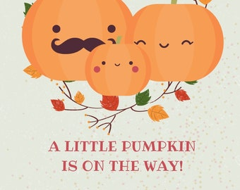 Halloween Baby Shower Invitation - Edit Print Download - Fall Themed Baby Shower