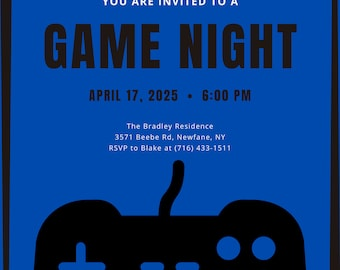 Game Night Invitation - Editable - Download - Printable - Instant download - Wedding, Baby Shower, Birthday and Paper Goods