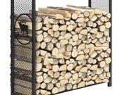 4 Feet Outdoor Heavy Duty Steel Firewood Log Rack Wood Storage Holder, Black