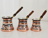 Coffee Pot Set of 3, Turkish Copper Coffee Pot with Wooden Handle, Hand-Crafted and Painted Premium Copper Pot