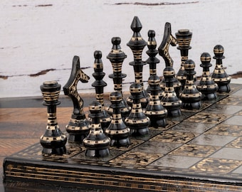"""12"""" Brass Metal Chess Board Set for Adult, Unique Chess Set for Gift, Handmade Luxury Chess Set, Chess Board Game Set 100% Hand Crafted"""