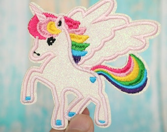 shinning,white pink,unicorn patch,glitter,iron on patch ,embroidered patch,sew on patch,applique,