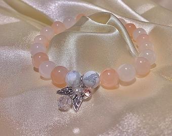 Rose Opale Beaded Bracelet with Angel Wing & Pink Gem Pendant