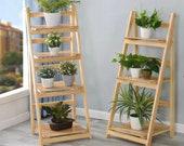 3 4 Tier Ladder Shelf Bookcase Bookshelf Folding Plant Flower Stand Storage Rack