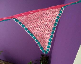 Festive flags garland crocheted