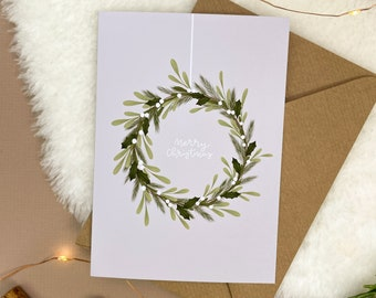 Wreath Christmas Card | Blank Inside, Minimalist Christmas Card, Illustrated Greetings Card, Seasons Greetings