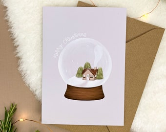Snowglobe Christmas Card | Blank Inside, Minimalist Christmas Card, Illustrated Greetings Card, Seasons Greetings