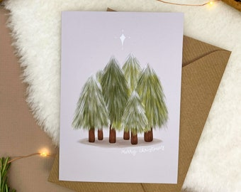 Forest Christmas Card | Blank Inside, Minimalist Christmas Card, Illustrated Greetings Card, Seasons Greetings